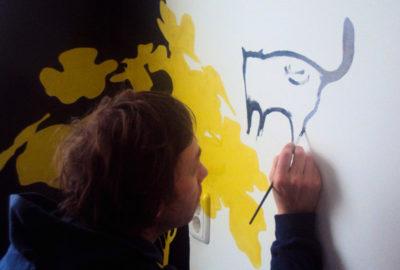 Silhouetten muurschildering